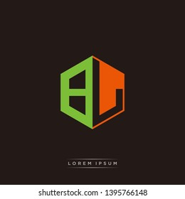 BL Logo Initial Monogram Negative Space Design Template With Orange and Green color