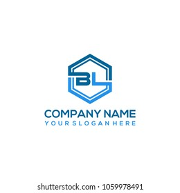 BL logo letter initial, Abstract polygonal Background Logo,