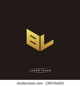 BL Logo Letter Initial Logo Designs Templete with Gold and Black Background