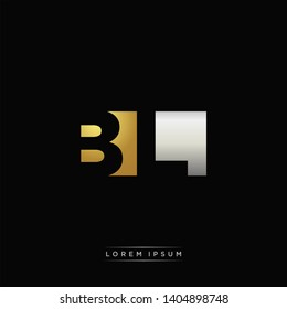 BL Logo Letter with Negative space and Gold combination silver color