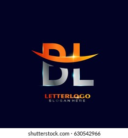 BL Logo Vector. Initial letter Logo Template in Modern Design with silver and orange Color for Company and Business Logo