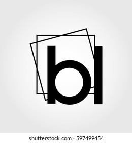 bl lowercase initials square frame business logo