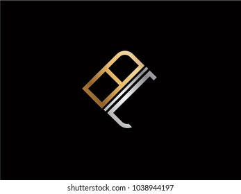 BL square shape Letter logo Design in silver gold color