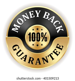 Black 100 percent money back badge with gold border