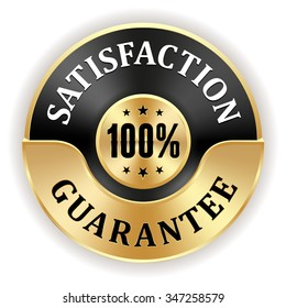 Black 100 percent satisfaction badge with gold border