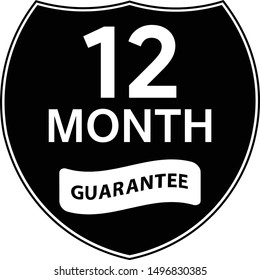 Black 12 months warranty shield sticker