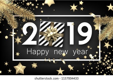 Black 2019 happy New Year background with white frame, top view gift, fir branches and gold stars. Christmas greeting card. Vector illustration.