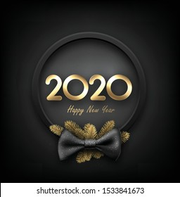 black 2020 happy New Year background with blue 3d frame and satin ribbon with beautiful bow. Winter decoration - Vector