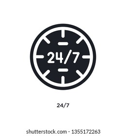 black 24/7 isolated vector icon. simple element illustration from time management concept vector icons. 24/7 editable logo symbol design on white background. can be use for web and mobile