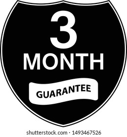 Black 3 months warranty shield sticker.