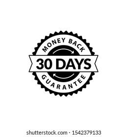 Black 30 Days Money Back Guarantee editable color.
