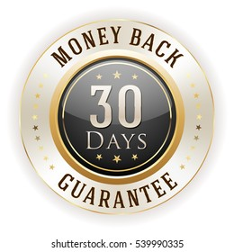 Black 30 days money back badge / button with gold border on white background