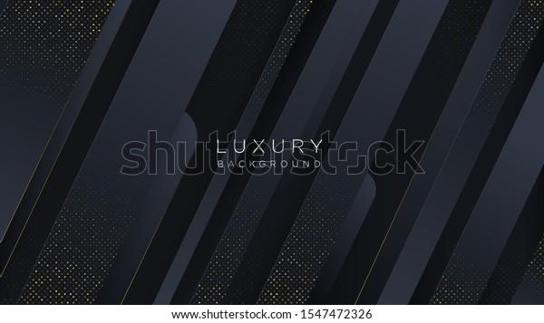 Black 3D background. 3D black composition and gold halftone pattern. 3D background. Vector illustration. Cover layout template. Modern design