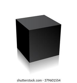Black 3d cube box on white background