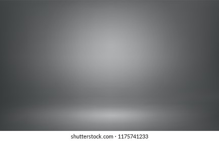 Black 3d studio background. Vector spotlight backdrop layout for product demo design.