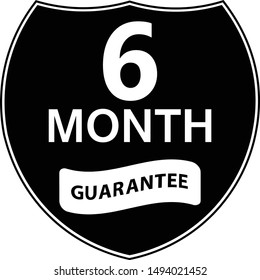 Black 6 months warranty shield sticker.