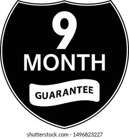 Black 9 months warranty shield sticker