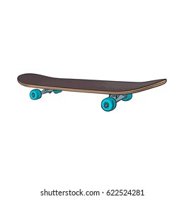 Black 90s style skateboard, sketch, hand drawn illustration isolated on white background. Hand drawn side view skateboard, urban means of transportation, 90s style personal transport
