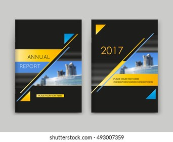 Black a4 brochure cover design. Text frame surface. Urban city view font. Title sheet model set. Modern vector front page. Brand logo. Firm banner texture. Yellow triangle figure icon. Ad flyer fiber