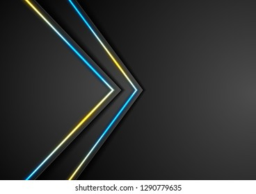 Black abstract arrows tech background with bright neon lines. Vector illustration