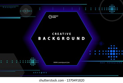 Black abstract background. Blue hexagon with trendy light gradients. Futuristic geometric. Design with circles. Composition of geometric figures. Flyers, brochures, posters, banners. Text, font vector