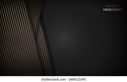 Black abstract background with golden lines. Modern luxury concept.