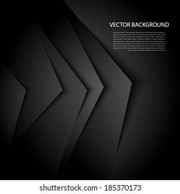 Black abstract background with realistic shadows.