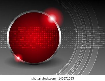 Black abstract background with red circle