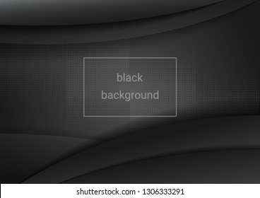 black abstract background with transparent waves using halftones for use in design