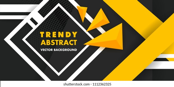 Black Abstract Background with Triangle Pattern and with yellow stripes luxury dynamic modern abstract vector background for presentation, report, abstract luxury cover.