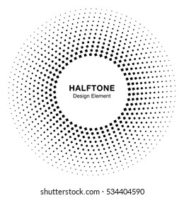 Black Abstract Circle Frame Halftone Dots Logo Design Element for medical treatment, cosmetic. Circle Border Icon halftone square dot vector elements. Halftone circle emblem. Vector illustration