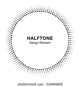 Black Abstract Circle Frame Halftone Dots Logo Design Element for medical treatment, cosmetic. Circle Border Icon halftone square dot vector elements. Halftone circle emblem, vector illustration.