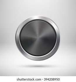 Black Abstract circle geometric badge, technology perforated button template with metal texture, chrome, silver, steel and realistic shadow for logo, design concepts, apps. Vector illustration.