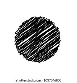 Black Abstract Circle Sketchy Scribble Background, Vector Design