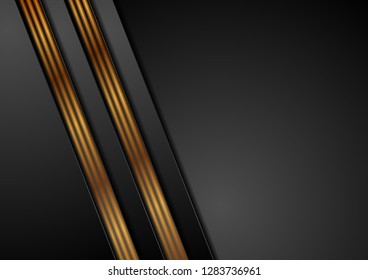 Black abstract corporate background with bronze lines. Vector design