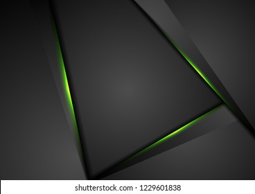 Black abstract corporate tech background with green glowing neon light. Vector design