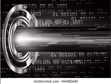 black abstract cyber future technology concept background, vector illustration, circuit, binary code, eye