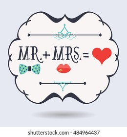 Black abstract emblem with conceptual Mr. plus Mrs. equals red heart icons on blue background