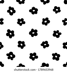 Black abstract flowers vector seamless pattern. Botanical ink illustration with floral motif. Daisy or chamomile painted by brush. Hand drawn black print for fabric, wrapping paper, wallpaper design
