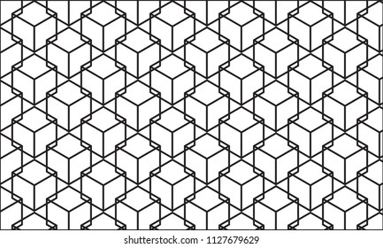 Black abstract geometric pattern, Black square pattern background, Vector lines pattern on white background