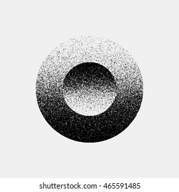 Black abstract geometric shape, circle badge with film grain, noise, grunge texture and light background for logo, design concepts, posters, banners, web, prints. Vector illustration.