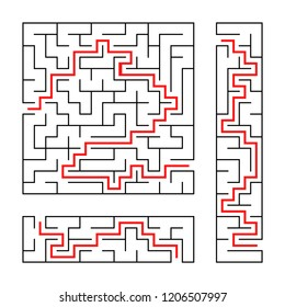 Black abstract labyrinth. A set of three puzzles. An interesting and useful game for children. With the answer. Simple flat vector illustration isolated on white background