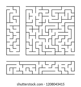 Black abstract labyrinth. A set of three puzzles. An interesting and useful game for children. Simple flat vector illustration isolated on white background.