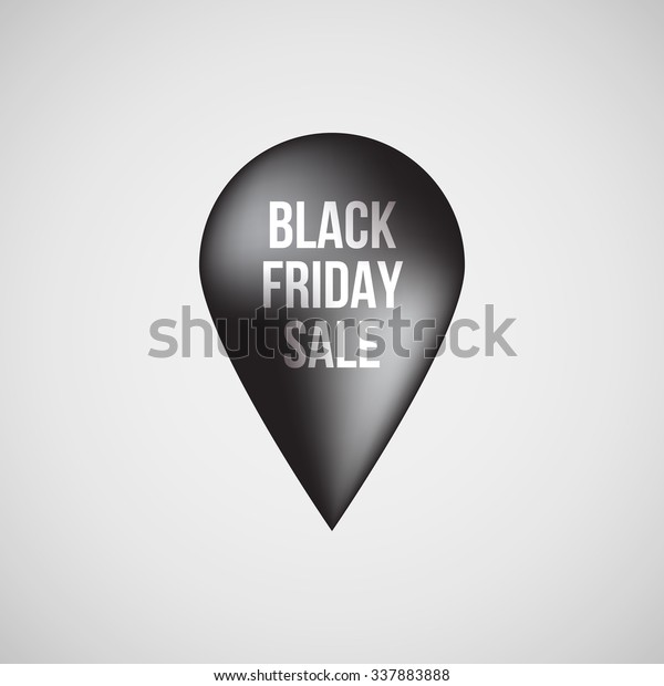 Black abstract premium map pointer, realistic luxury badge, gps button with black friday sale text and light background for logo, design concepts, banners, apps and prints. Vector illustration