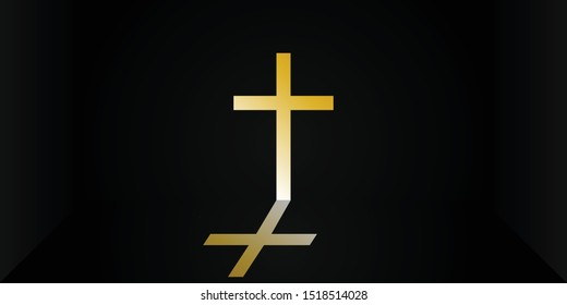 Black abstract room background with crucifix