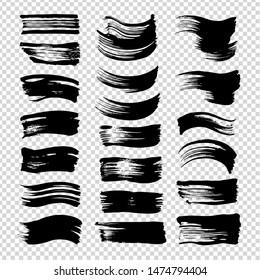 Black abstract short straight brushstrokes textured big set isolated on imitation transparent background