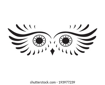Black abstract silhouette of elemental eagle owl