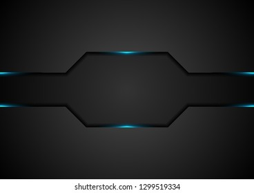 Black abstract tech background with blue glowing neon light. Vector design