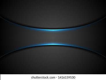 Black abstract tech background with blue neon glowing light. Vector design