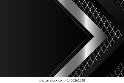 Black abstract tech geometric background. Line metallic silver shape with light pattern composition. Blank space on for text and background design